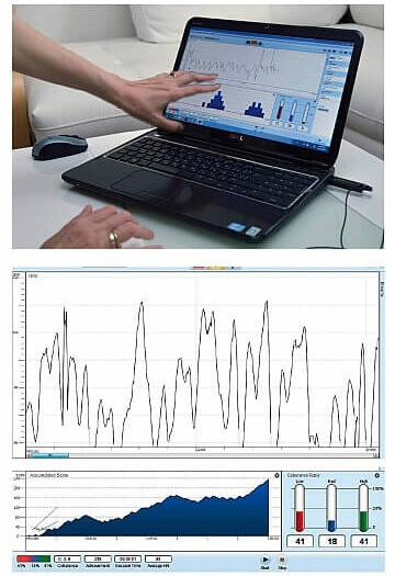 Пренареждане на Матрицата. Биофийдбек проследява сърдечния ритъм преди и след ТЕС сеанса. Снимка: Владимир Мачоков, Списание Осем